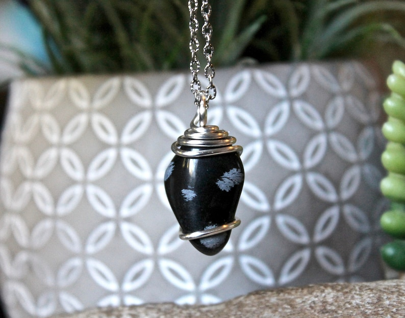 Snowflake Obsidian Pendant  Protection Talisman Jewelry for image 0