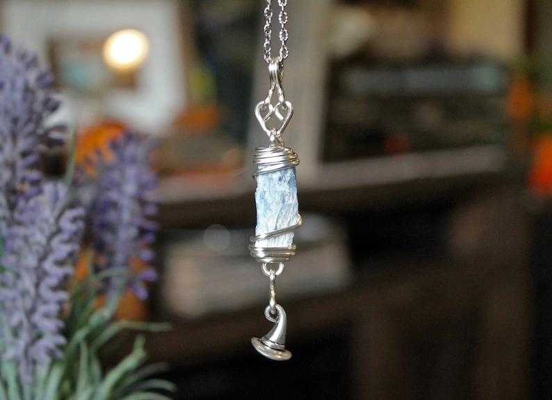 Blue Kyanite Necklace w/ Witch Hat Charm  Halloween Jewelry image 0