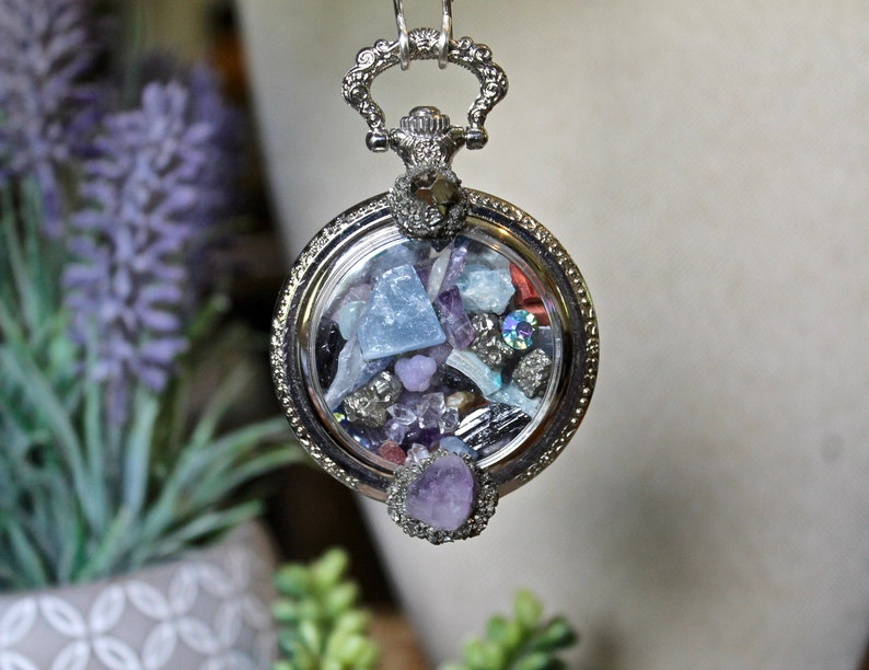 Gemstone Pocket Watch Necklace w/Amethyst Fluorite Grape image 0