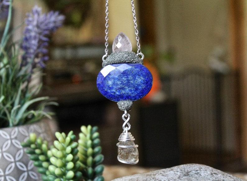 Lapis Lazuli Necklace w/ Rose Quartz & Rutilated Quartz  Blue image 0