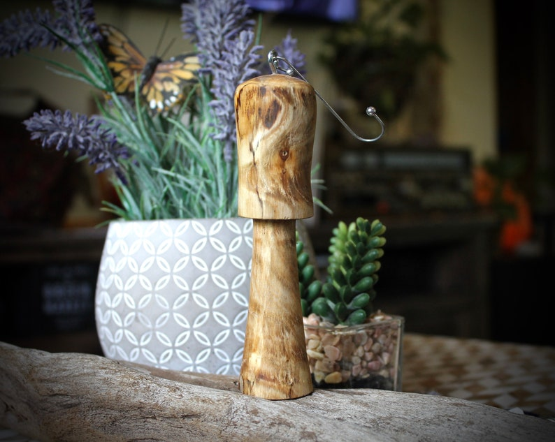 Hippie Ornament  Wooden Mushroom Christmas Ornament w/ image 0