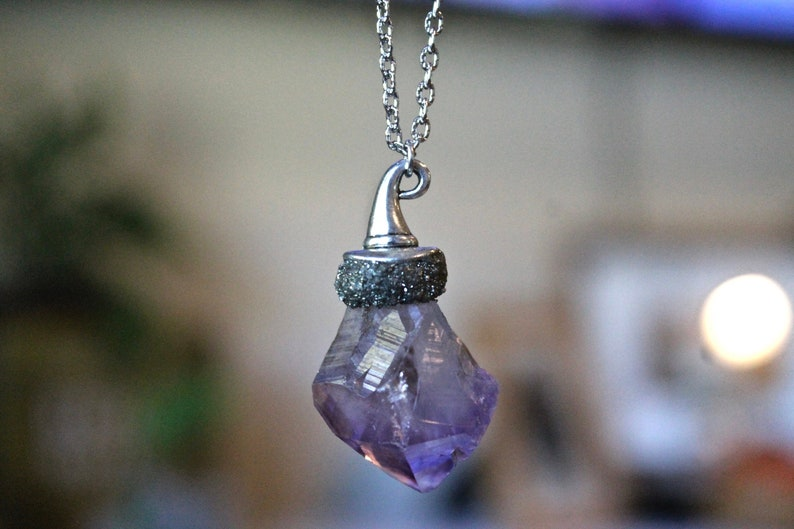 Witch Hat Necklace  Amethyst Jewelry for Halloween  Crystal image 0