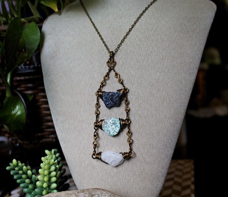 Quartz Sodalite & Fuchsite Necklace  Wire Wrapped Stone image 0