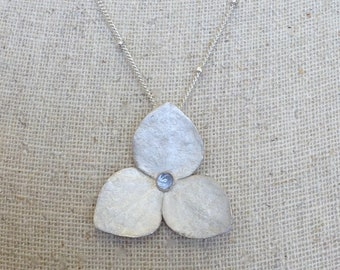 Silver Hydrangea necklace with blue iolite center