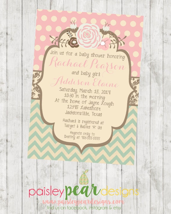 Vintage Floral Baby Shower Invitation Customizable Etsy