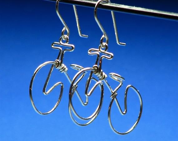 BICYCLE earrings. Bike Jewelry . Cycling Gift. Mountain Bike Earring .Sports Jewelry. Sterling Silver Gold Bikes. Niobium Bikes