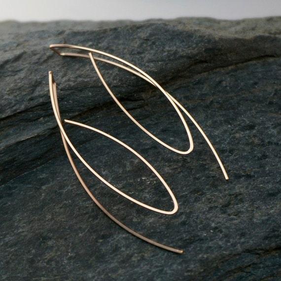 long ROSE GOLD earrings. yellow gold earrings .14k gold filled. LONG wire hoop. lightweight.  modern No.00E308 g