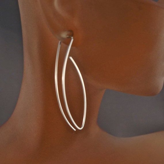 Sterling SILVER 2 inch EARRINGS. nickel free argentium threaders. Cecile Stewart Jewelry  No.00E240