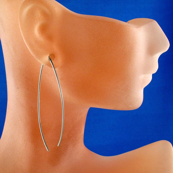 nickel free TITANIUM EARRINGS Elegant  Simple Modern Curved Wire Grey  Long Fish Loop Hypoallergenic By Cecile Stewart Jewelry  No.00E117