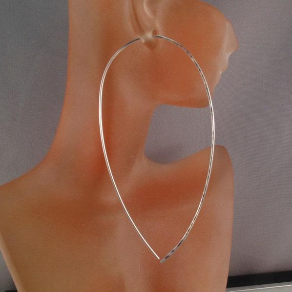 4 inch earrings STERLING SILVER TEAR hoop wire earring. 18 gauge wire. lightweight. nickel free.  gold filled No.00E246