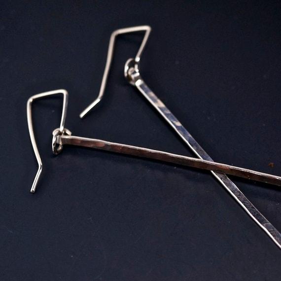 LONG DANGLE EARRINGS -  3 inch sterling silver bar earrings - sterling stick earring  - formal earrings.