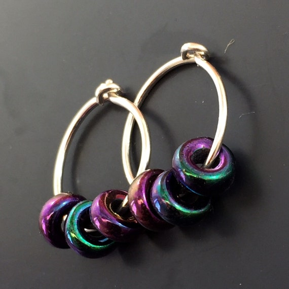 small STERLING hoops / half inch silver sleeper / small earrings / cartilage ring / glass bead / kids jewelry   No.00E188