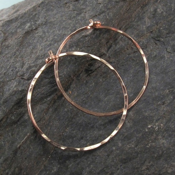 rose gold HOOP earrings . 14k rose goldfilled  hoops. hammered hoop earring. one inch hoop. sleeper earring. inch. nickel free. No.00E262