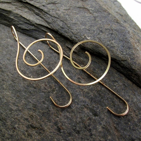 MUSIC EARRINGS / treble clef /  dangle. gold / sterling silver / argentium / niobium wire jewelry / 2  to 5 inch / nickel free  No.00E104