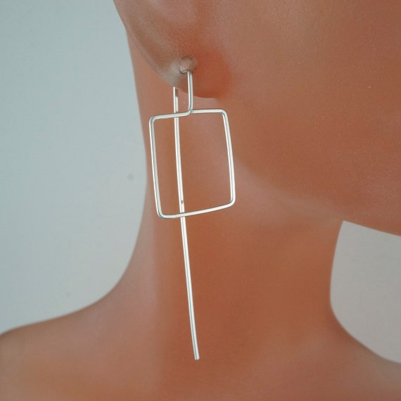 LONG square earrings.  argentium jewelry . deco earrings . sterling silver  . gold filled. niobium Cecile Stewart Jewelry No.00E1