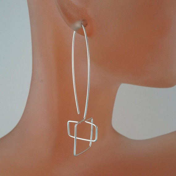 LONG Argentium SILVER Geometric earrings. minimalistic contemporary. sterling silver. yellow gold. rose gold. niobium CecileStewartJewelry