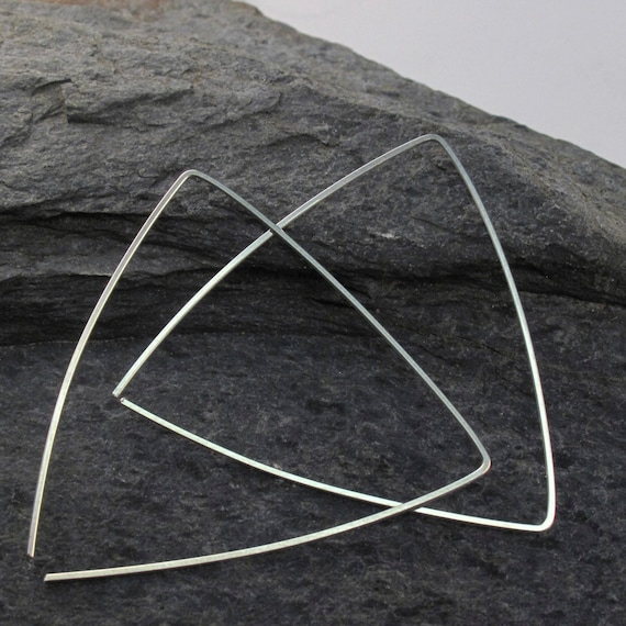 Sterling Silver TRIANGLE EARRINGS. tiangle hoops. big hoops. geometric. 2 inch . rose gold. niobium. argentium sterling. nickel free