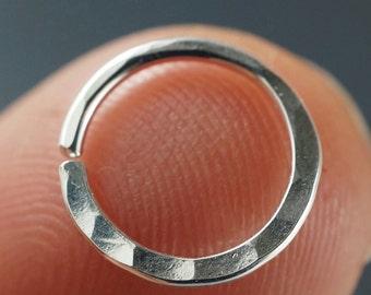 18 Gauge Hammered  Nose Ring /  Septum Ring / Cartilage Earring /  Sterling Silver / Argentium / Gold Filled / Niobium