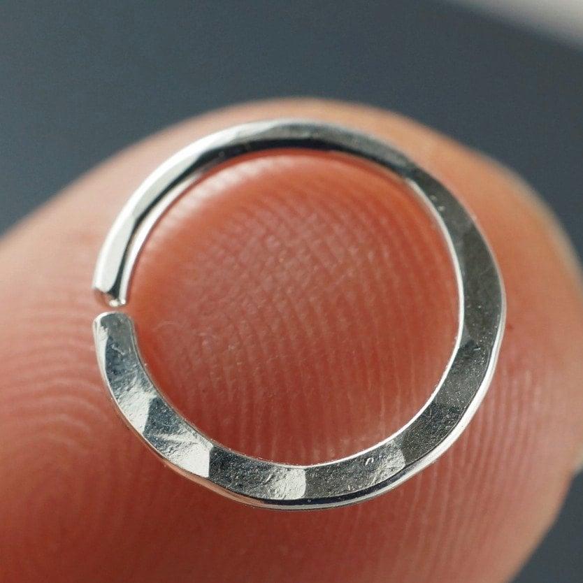 18 Gauge Hammered Nose Ring Septum Ring Cartilage Earring