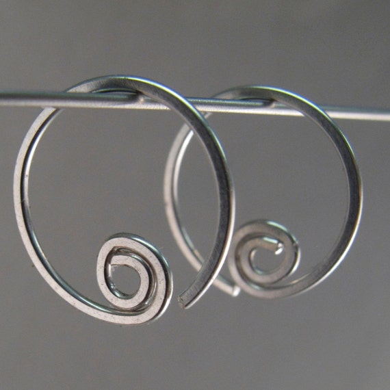 small STERLING SILVER hoop earrings. sleeper earring . open hoop spiral . child earrings. threader earrings No.00E190