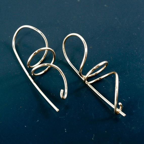Spiral  Coil Earrings with Clasp. Gold . Lightweight Hypoallergenic Contemporary Earrings in Silver. Gold , Niobium, titanium .