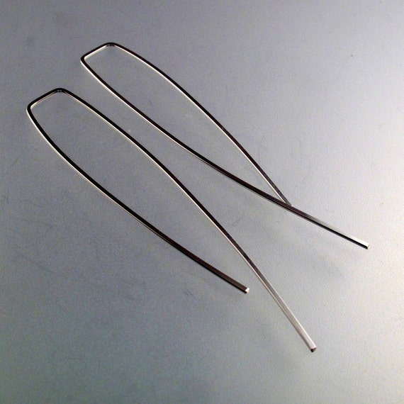 LONG 3 inch minimal  EARRINGS. choose metal and  gauge.  Modern Contemporary Hypoallergenic threader earrings No.00E85