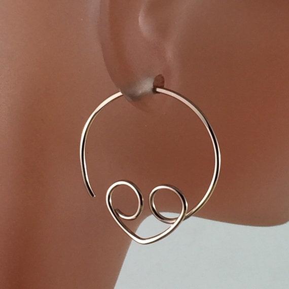 18g GOLD HEART hoops. 18g earrings. 18 hoops. Alien Earrings.  girl. lover. sweetheart. thicker wire earrings. CecileStewartJewelry