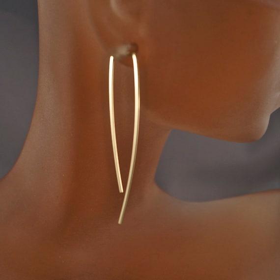 Minimalist Gold Earrings. Long Simple Earrings . 2 Inch line Earrings. Elegant Lightweight Everyday Threader. Mens Modern Contemporary