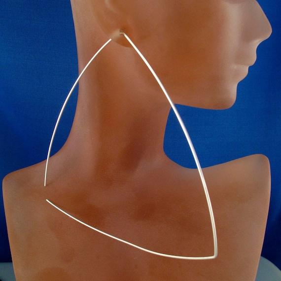 large STERLING SILVER TRIANGLE hoop earring - huge hoop 4 inch - gold filled - niobium - argentium -  nickel free No.00E238