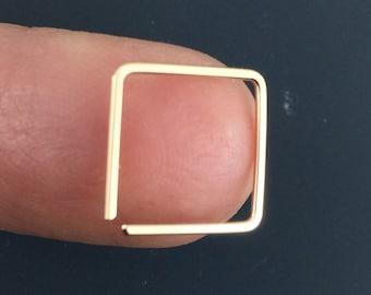 Lightweight Square Hoop Earrings - Choose Size - Hypoallergenic  Yellow Rose Gold-filled, Argentium Sterling, Niobium, Mens Hoop