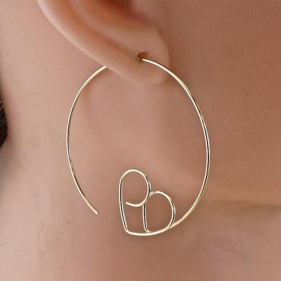 Lightweight HEART hoops - love earrings  -  sweetheart earrings - wedding jewelry - nickel free  gold sterling silver niobium