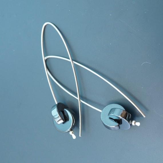 Hematite earrings /  sterling silver Loop / hoop earrings / 2 inch / modern contemporary / argentium earrings  -NO.00E71