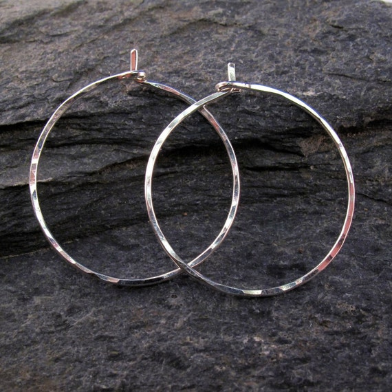 Inch Silver Hoops . sterling hoops. hammered sterling silver hoops. handmade. nickel free. Cecile Stewart  No.00E262