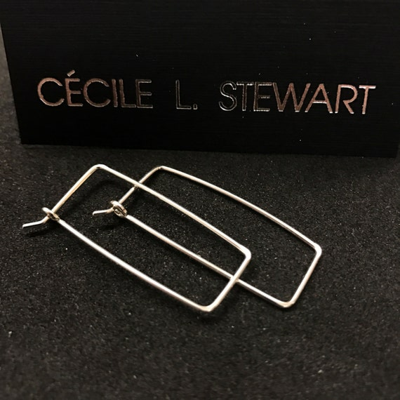 STERLING SILVER Rectangular Earrings. Argentium Hoops . Hammered Hoops. geometric hoops  . interchangeable earrings. mens earrings