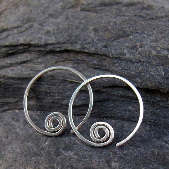 Low Tarnish STERLING Hoops . Argentium Silver Hoops. Cecile Stewart Jewelry