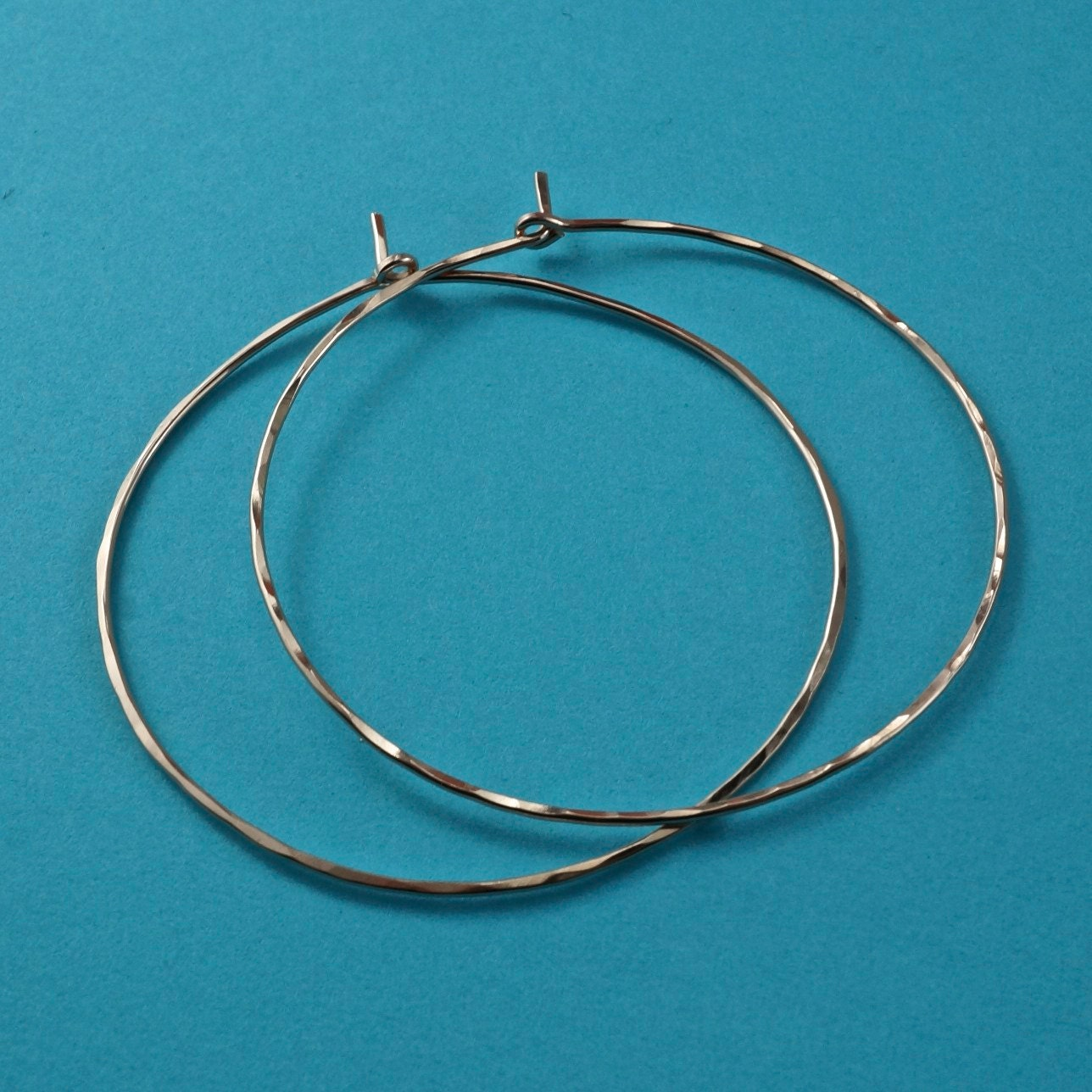 2 INCH ROSE GOLD hoops. large hoops. 3 inch hoops hammered ...