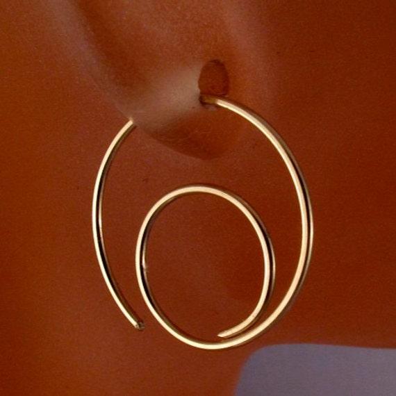 Spiral  HOOP EARRINGS Gold Filled .  Choose Size . Choose Metal.  Open Hoop . Wire Earring Lightweight. Nickel Free No.00E299