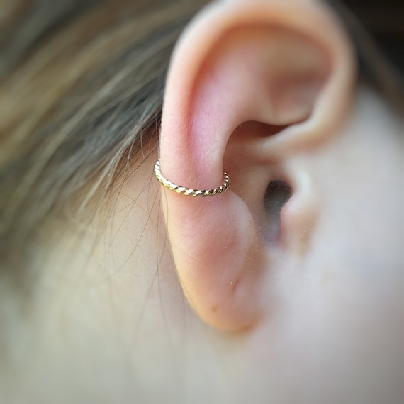 Gold Ear Cuff -  Silver Ear Wrap Piercing - Fake Septum - Cartilage Ring- Fake Nose Ring - Faux Ear Cuff - Helix