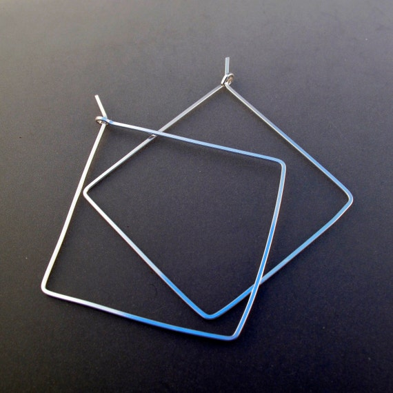 18 gauge argentium  STERLING SILVER SQUARE  hoop earrings.  2 inch . wire earrings. large square hoops.  nickel free No.00E283