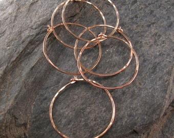 SINGLE rose gold HOOP earring . Single  hoop. thin hammered hoops. mens hoop. tiny hoop. large hoop. sleeper earring. nickel free. No.00E262