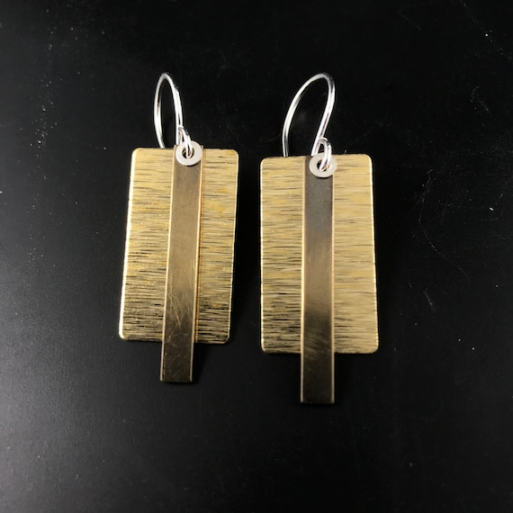 Mixed metal rectangular earrings. Sterling silver  brass geometric earrings . Patinated  CecileStewartJewelry No.00E123