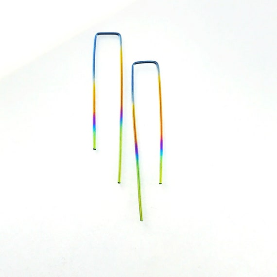 Rainbow niobium earrings | long niobium threader | hypoallergenic  earrings | peacock modern minimal contemporary nickel free No.00E144