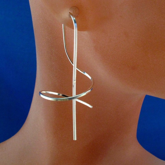Hypoallergenic Wind on earrings . Sterling, gold, niobium, argentium . lightweight  modern contemporary nickel free  jewelry No.00E217