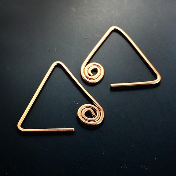 Small Rose Gold Hoop Earrings - Triangle Earrings - Sleepers - Everyday Earrings
