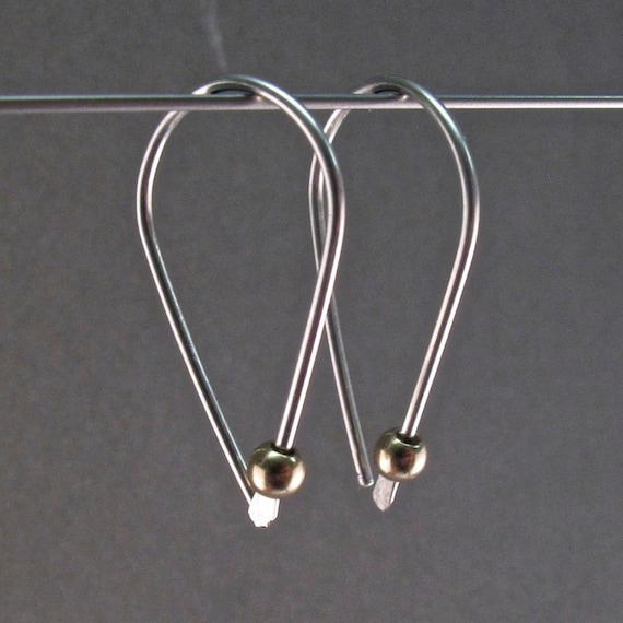 STERLING SILVER HOOP earrings sleeper wire small lightweight minimal modern simple contemporary. nickel free. argentium sterling  No.00E181