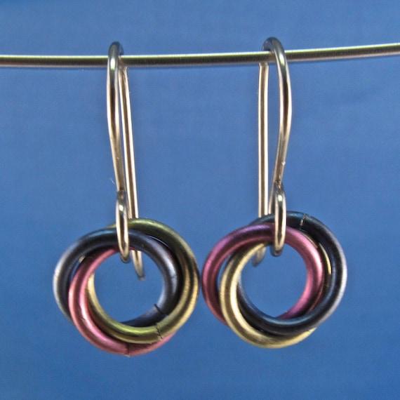 small NIOBIUM Infinity love knot earrings. promise. celtic. friends. eternity. friendship earrings . child. nickel free No.00E205