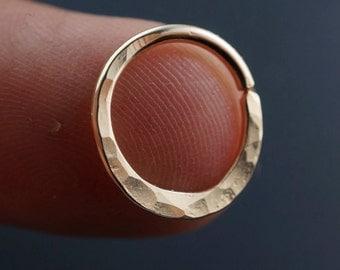 SEPTUM RING - 16g - Septum Hoop - Nose Ring - Septum Jewelry -  Cartilage Earring - Rose Gold - Sterling - Niobium  - hammered No.00503