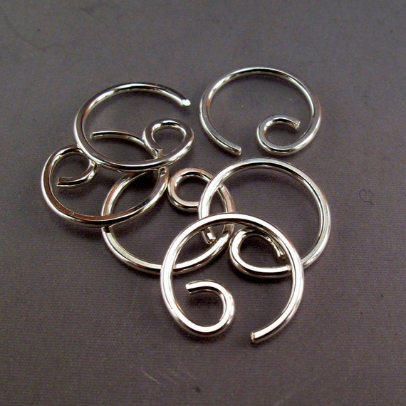 16 gauge hoop cartilage. septum. nose. piercing.  GAUGED EARRING. single SILVER hoop. sterling gold niobium. mens jewelry