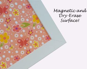 Magnetic Board - Magnet Board - Dry Erase Board - Framed Bulletin Board - Office Organization - Spring Floral Design - includes magnets