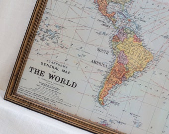 Wall Decor - LARGE Magnet Board - Magnetic Board - Dry Erase Board - Framed Bulletin Board - Classic World Map Design - includes magnets